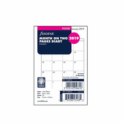 Filofax Pocket Size 2019 Diary Month On Two Pages Diary Refill Insert 19-68210