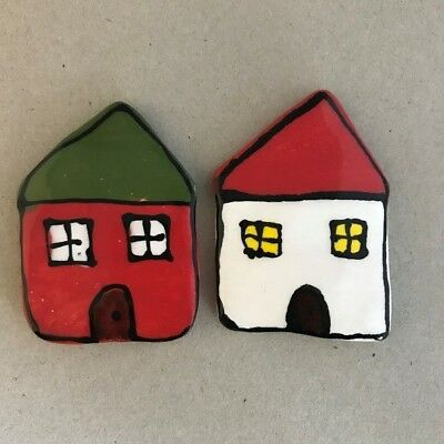 CERAMIC HOUSES x2 - Red and White – 65x45mm ~ Mosaic Inserts, Art, Craft Supp...