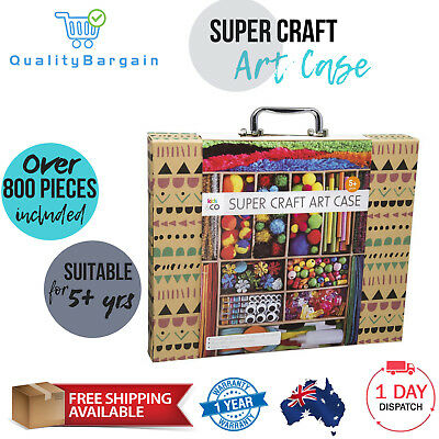 Super Craft Art Case Set Kids Project Activity Learning Fun Gift Beads Kit 800+