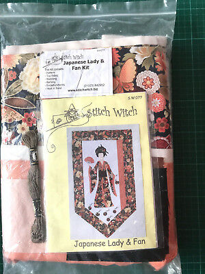 """Vintage Japanese Lady & Fan Wall Hanging Applique Quilting Kit  SW077 20""""x35"""""""