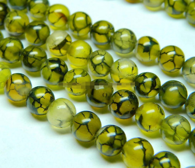 6mm Veins Yellow Agate Gemstone Round Loose Bead 15''