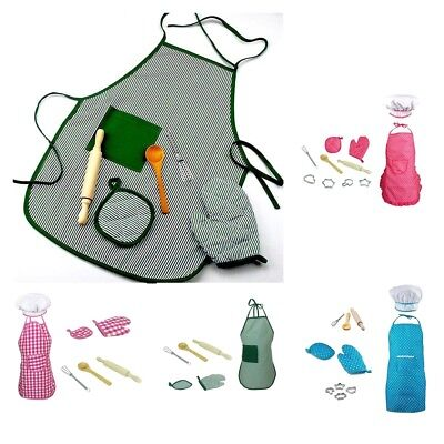 Kid Pretend Kitchen Toy Playset Cooking Cake Mold Whisk Kit Chef Apron Cap Glove