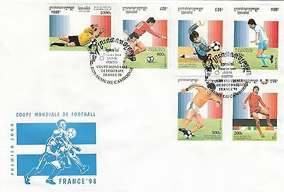 (41232) Cambodia FDC Football World Cup France 15 March 1996