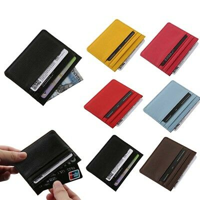 Unisex Men Women Slim Pocket Case Leather Small Id Credit Card Wallet Holder