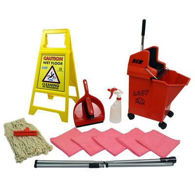 Lady Bug Mop Bucket on Wheels Floor Cleaning Starter Kit Mop Handle SYR RED