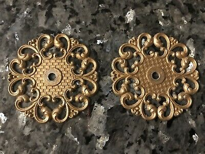 Vtg SPANISH STYLE Cabinet Hardware Rosette Allison FILIGREE BACKPLATES LoT 2