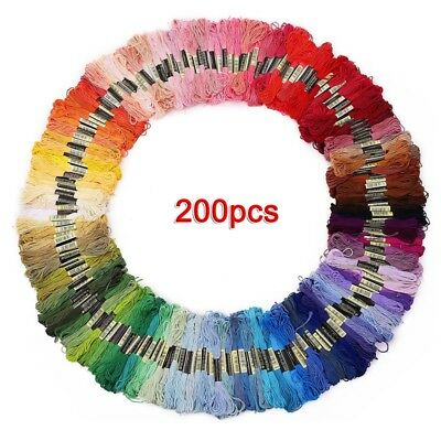 200 skeins of multicolored yarn for cross needle embroidery Crocheting R2Y7