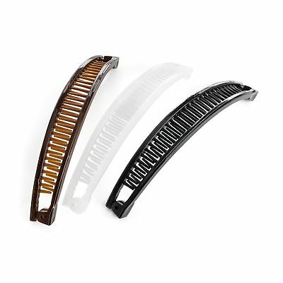 NEW SET OF 3 CURVED HINGED BANANA HAIR CLIPS COMB GRIPS 15cm BLACK BROWN CLEAR