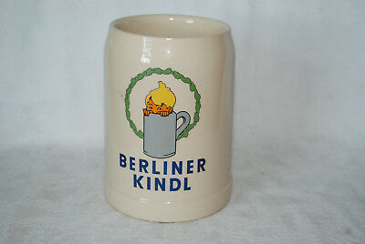 Vtg Berliner Kindl Germany 0.5 1/2 Liter Glazed Stoneware Beer Mug Stein