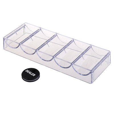 100 Chips Poker Chip Tray Box No Lid + Dealer Puck Button Board Game Parts