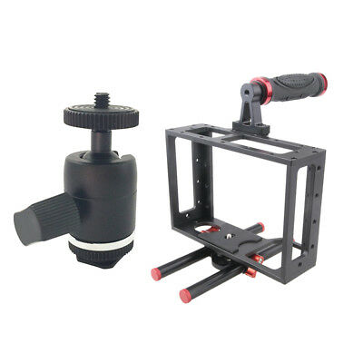 Aluminum Camera Cage Kit With 15mm Rod Rig +Hot Shoe Adapter Camera