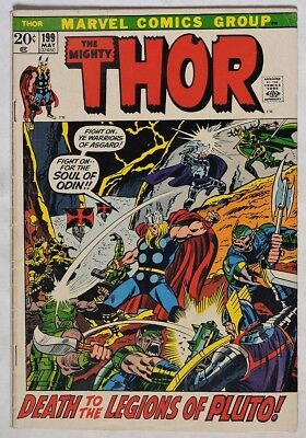 S985. THE MIGHTY THOR #199 by Marvel 4.5 VG+ (1972) 1st App. of EGO-PRIME `