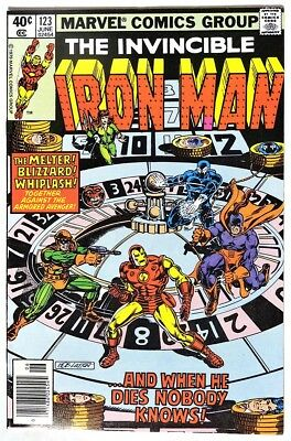 """S977. IRON MAN #123 Marvel 6.5 FN+ (1979) ALCOHOLISM Story """"Demon in a Bottle"""" `"""