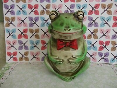 "Vtg.bull Frog,toad Bank,figurine~Smiling,red Bow Tie,adorable Guy! 6.1"" Tall~"