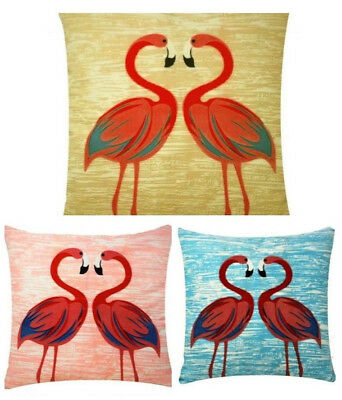 Flamingo Print Chenille Cotton Square 17 x 17 inch Cushion Cover Bed Pillowcase
