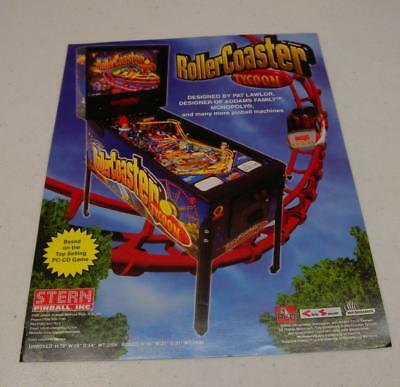 2002 Stern Roller Coaster Tycoon Pinball Factory Sales Flyer Free USA Shipping!