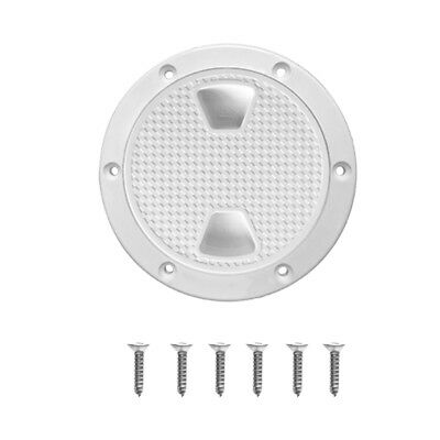 """Marine Boat Polar White 4"""" Access Port Hatch Cover Twist Out Deck Plate"""