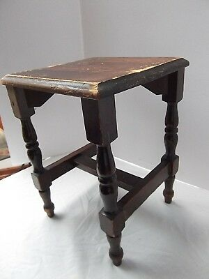 vtg primitive style wood wooden accent small table chic shabby farmhouse patina