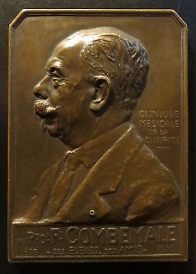 Bronze Medaille Plaque Prof. Combemale 1930 by Blaise -- Medicina -- RARE