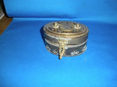 Vintage Brass Incense Burner Oval Shape W/hinged Lid & Handle (: