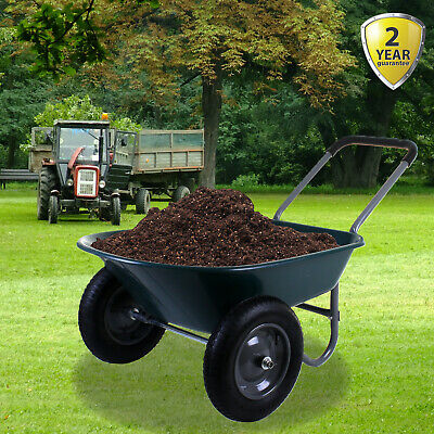 Wheelbarrow 80L/150KG Twin Wheel 2 Pneumatic Tyres Large Hopper Stable Garden
