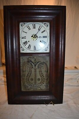 Antique Early American Forestvelle Clock Co. Weight Driven Parlor Clock Running