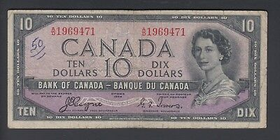 1954 $10 Dollars Devil's Face - Coyne Towers - Prefix A/D - Bank of Canada F394