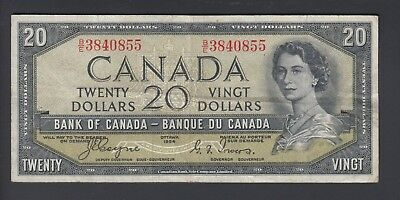 1954 $20 Dollars Devil's Face - Coyne Towers - Prefix B/E - Bank of Canada  F397