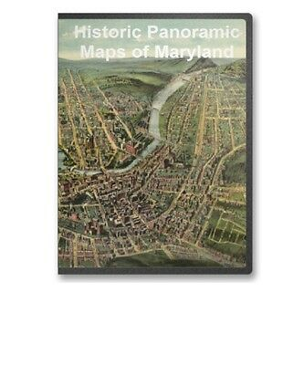 Maryland MD - 12 Vintage Panoramic City Maps on CD - B159