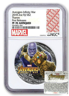 THANOS  - AVENGERS - 2018 2 OZ Pure Silver Coin - NGC PF70 UC First Releases COA