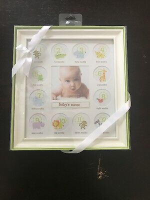 Stepping Stones Baby First 12 Months milestone Picture Frame Wooden