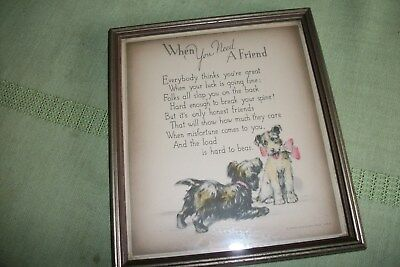 """Buzza Framed Print """"When You Need A Friend"""" 6 1/2"""" x 7 1/2""""  2 Terriers"""