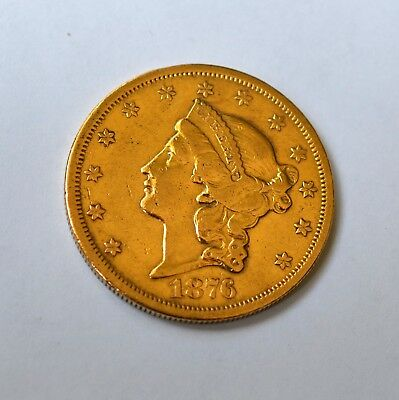 LIBERTY HEAD 1876 $20 Gold Coin S
