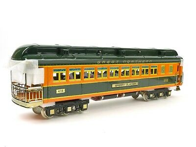MTH Lionel Corp Tinplate Great Northern Observation Car Standard Gauge 11-40061C