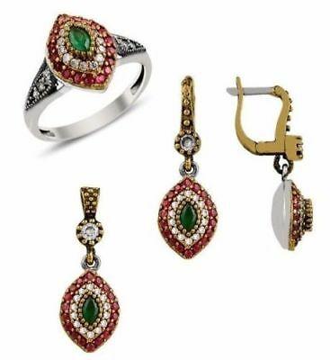 turkish 925 sterling silver ruby emerald stone ladies womans set ALL SİZE us