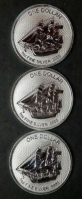 Lot of 3 2018 Cook Islands 1 oz Silver Bounty Coin