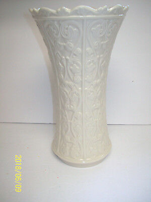 "Lenox Wentworth Vase Cream Porcelian Tall Glossy Vine 11"" Discontinued"