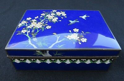 Vintage Japanese Cloisonne Enamel Cigarette Jewelry Box w/ Birds Cherry Blossoms