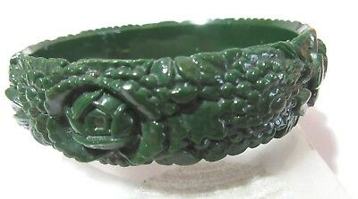 Dark Green Vintage Celluloid Deeply Carved Floral Bangle Bracelet Pretty Japan