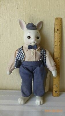 Vintage Country Kins Porcelain Doll Russ Berrie Barton Bunny Collectible #1656