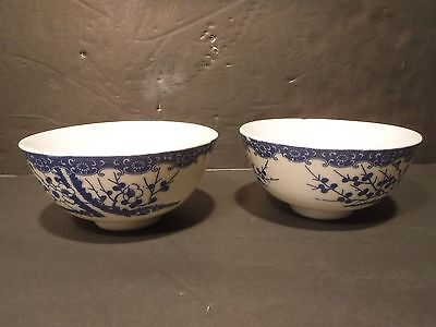 Vintage Blue & White Small Rice Bowls With Flowers & Berries