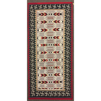 """Navajo Teec Nos Pos Runner with Whirling Logs, c. 1920-30, 116"""" x 55"""""""