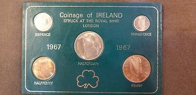 Vintage 1967 Coinage of Ireland Proof Set (5 pieces) Half Crown Six Pence Penny+