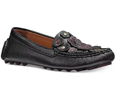 5d65190babe NIB Authentic COACH Tea Rose Crosby Driver Moccasin Flats in Black Sz 9  250
