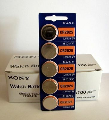 Lot of 100 **FRESH NEW** SONY CR2025 Lithium Battery 3V Exp 2027 Coin Cell