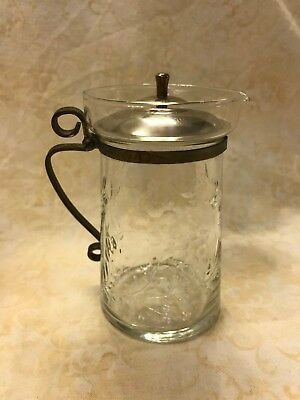 """Vintage Clear Etched Glass Pitcher Metal Handle & Cover 4 1/2"""" High"""