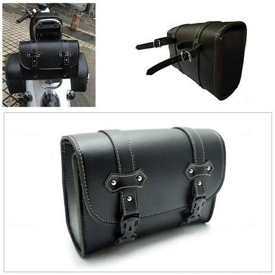 Universal PU Leather Motorcycle Saddle Luggage Side Tail Pouch Storage Bag Firm