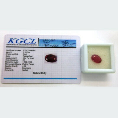 Natural Ruby Gemstone Approximately 3.2ct Oval Cut - with KGCL Certificate