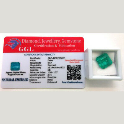 Natural Emerald Gemstone Approximately 8.67ct Emerald Cut - with GGL Certificate