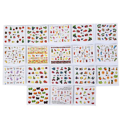 18 sheets fruit cocktail watermark decals water transfer nail art stickers diySC